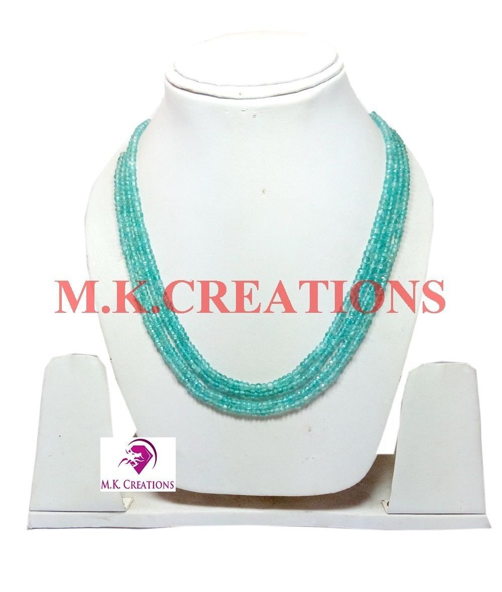 """3-4mm Rich Natural Apatite Beads 16"""" 4 strand Multi Layer Necklace Jewelry"""