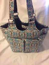 Yarnology Turquoise & Brown Stitchers Sewing Crafts Quilting Cotton Tote... - $28.44 CAD