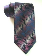 KENNETH COLE Silk Neck Tie Navy Blue Pink Paisley Stripe Pattern Luxury ... - $11.97