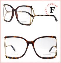 GUCCI 0592 Havana Brown Gold Square Snake Stripe Eyeglasses Frame GG0592... - $200.28
