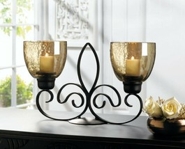 Black Fleur De Lis Candle Stand with 2 Iridescent Finish Glass Candle Cups - $34.60