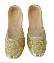 Women Shoes Indian Handmade Golden Oxfords Leather Mojari US 10  - £20.21 GBP