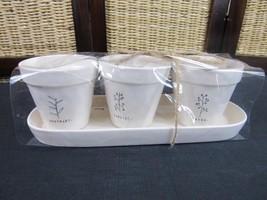 "New 4.5"" Ceramic Rosemary Parsley Thyme Rae Dunn Planting Pot Set w/Tray - €24,77 EUR"