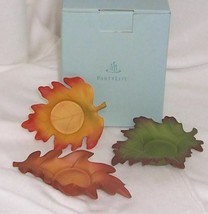 PartyLite Whispering Leaves Tealight Trio Vibrant Hand Painted Porcelain... - $10.95