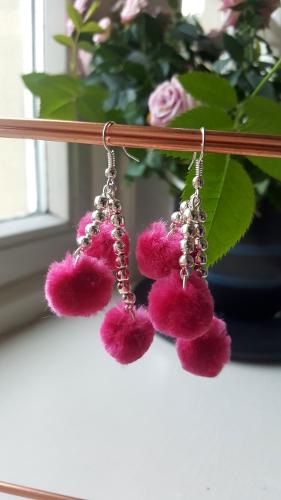 Pink Fluffy Pom Pom Earring's
