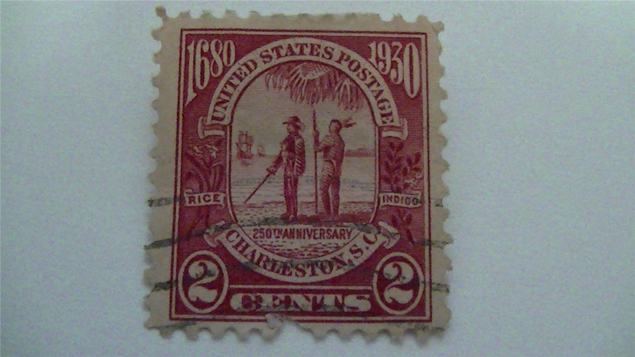 Vintage Charleston Carmine Vintage USA Used 2 Cent Stamp