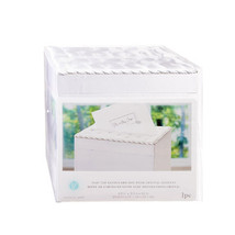 Wedding Satin Card Box With Crystal Flip Top Opening, White - $37.69