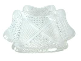 Vintage Square Bowl Cut Glass Etched Design Cross Hatch 31677 ABP - $98.99