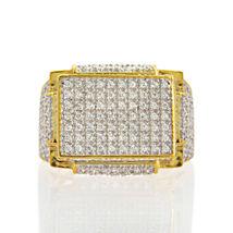 2.00 Ctw Round Diamond 14k Yellow Gold Fn Unique Cluster Men's Engagemen... - $155.99