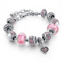 European Charm Bracelet Round Murano Glass Beads Silver Tone Metal Jewelry - $12.12