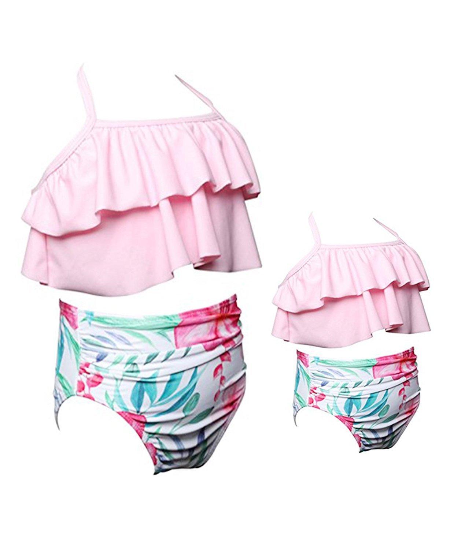 Mother Daughter  Ruffle Halter Backless High Waisted Bikini Set