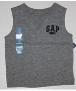 baby Gap NWT Boy's 3 6 Mo. Gray Muscle Shirt Tank Top w/ Navy Blue GAP Logo - $17.44