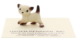 Hagen-Renaker Miniature Cat Figurine Tiny Siamese Kitten Walking Chocolate Point