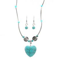 2017 Jewelry Women Necklace & Earring Set Heart Shaped Necklace Pendant ... - $10.56