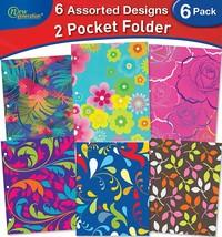 Generation Floral 2 Pocket Folder Portfolio 6 PACK Letter Size 3 Hole Punch - $18.98