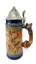 Vintage German GERZ fox handle tankard/stein  wild boar hunting scene - $34.65