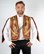 Burgundy vest Embroidered Vest Waistcoat Waist costume sleeved - $45.00
