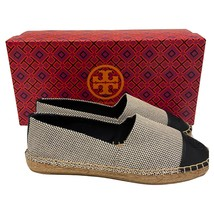 Tory Burch Color Block Flat Espadrille 6  Perfect Navy Luggage Canvas Leather  - $138.60