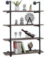 Rustic Metal Floating Shelves,Steampunk Real Wood Book Shelves - $222.00