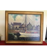 Vtg Rockport Harbor Oil Painting on Canvas by Frederic Polley, Indiana A... - $1,500.00