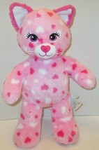 "BUILD A BEAR PINK HUGGABLE HEARTS KITTY CAT 17"" PLUSH DOLL TOY - $7.99"