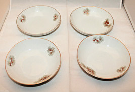 Vintage Fukagawa Arita Set of 4 Handpainted Gold Trim Small Bowl 904 Pin... - $48.83