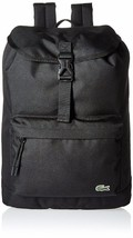 New Lacoste Men's Premium Croc Logo Polyester Flap Backpack Black NH2013NE-991