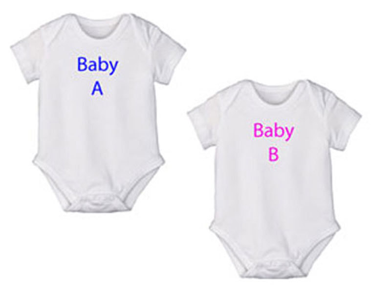 "Preemie & Newborn Twin Boy/Girl ""Baby A & B"" Onesies"