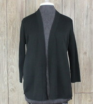 New Talbots Cardigan Sweater M Petite MP size Black Open Front Womens Cotton $79 - $39.59
