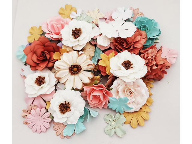 Pastel Colored Paper Flowers, Approximately 50 Flowers