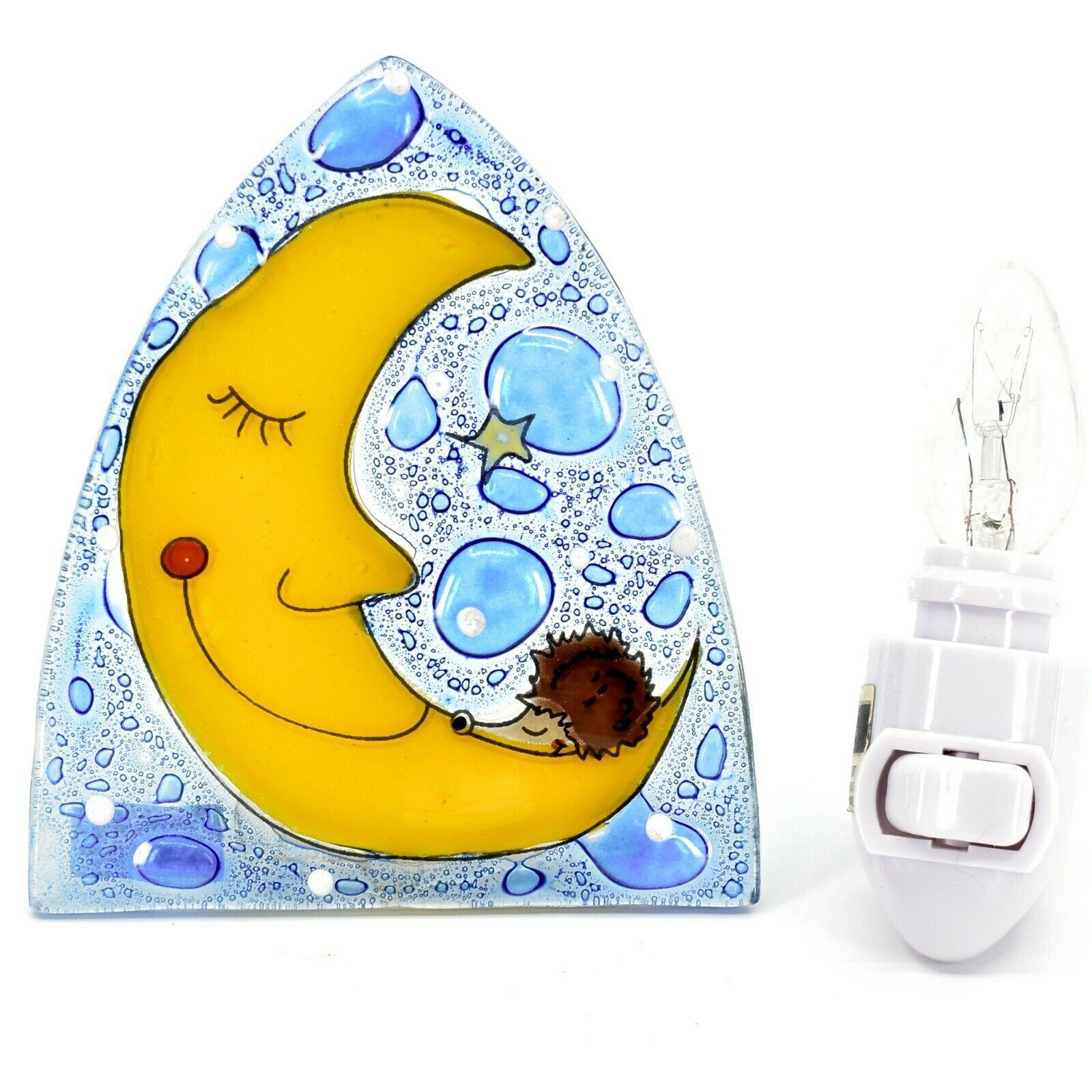 Fused Art Glass Hedgehog Sleeping on Moon Design Night Light Handmade in Ecuador