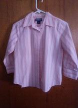 Lands End Womens 3/4 Sleeve Peach Striped Button Up Camp Shirt Size 6 Pe... - $9.90