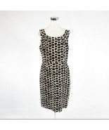 Dark brown white geometric silk blend ANTONIO MELANI sleeveless sheath d... - $34.99