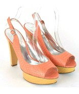 Jessica Simpson Orange Leather Sling Back High Heel Pumps Shoes Open Toe... - $29.69