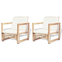 vidaXL 2x Garden Chairs with Removable Cushions and Pillows Bamboo Armchair - $148.99