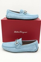 Salvatore Ferragamo Parigi Gancini Bit Blue Suede Driver Moccasins Loafers 8 41 - $345.00