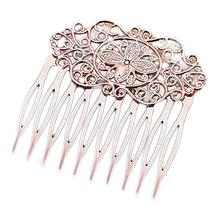 3 Pcs Rose Gold 10 Teeth Side Comb Metal Hair Clip Hair Comb Flower Vine Cirrus