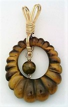 Tiger Eye Gold Wire Wrap Carved Pendant 12 - $40.00