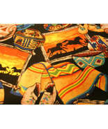 1/2 Yd Southwestern Fabric Pottery & Horses Patch Blankets Craft Sewing - $4.99