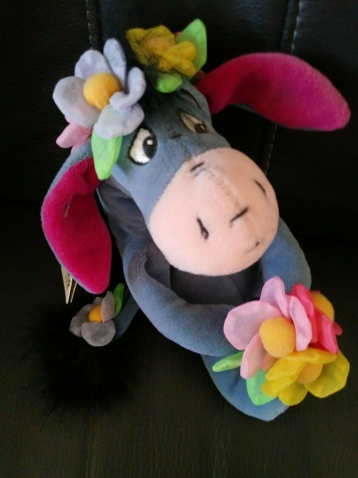 "Disney Winnie the Pooh FLOWER POWER EEYORE 9"" Bean Bag STUFFED ANIMAL Toy w/tags"