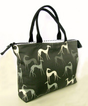 Handmade Greyhound tote, purse, bag. Charcoal, black, gray, grey, eco, m... - $79.00