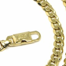 "MASSIVE 18K GOLD BRACELET GOURMETTE CUBAN CURB FLAT 5.5 MM LINK, 21cm 8.3"" ITALY image 2"