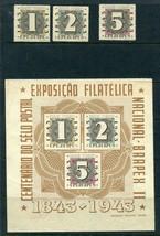 Brazil 1943 Sc C50,a.b.c  Sheet+stamps MNH  100 centenial 7151 - $63.70