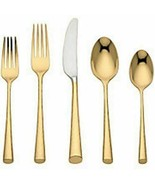 Gold Imperial Caviar by Lenox Stainless Steel Flatware Set Service New 4... - $720.00