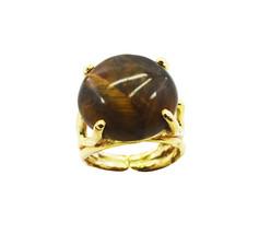 fascinating Tiger Eye Gold Plated Brown Ring Natural casually US gift - $20.99