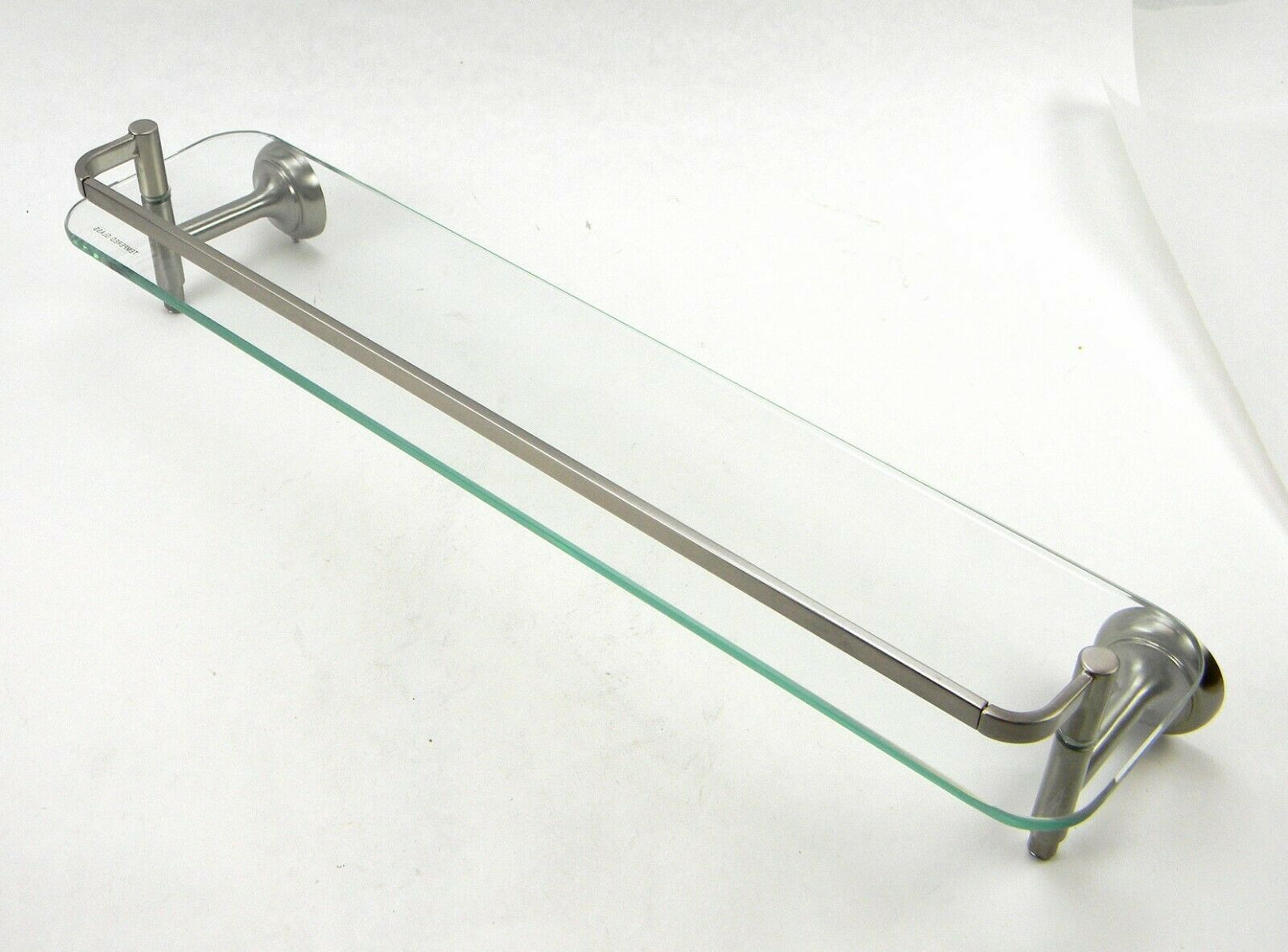 Delta 4 In. Rectangle Double Glass Shelf With Towel Bar Rack In Brushed Nickel
