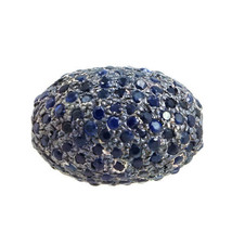 Blue Sapphire Studded Spacer Bead 925 Sterling Silver Vintage Finding 16... - $317.90