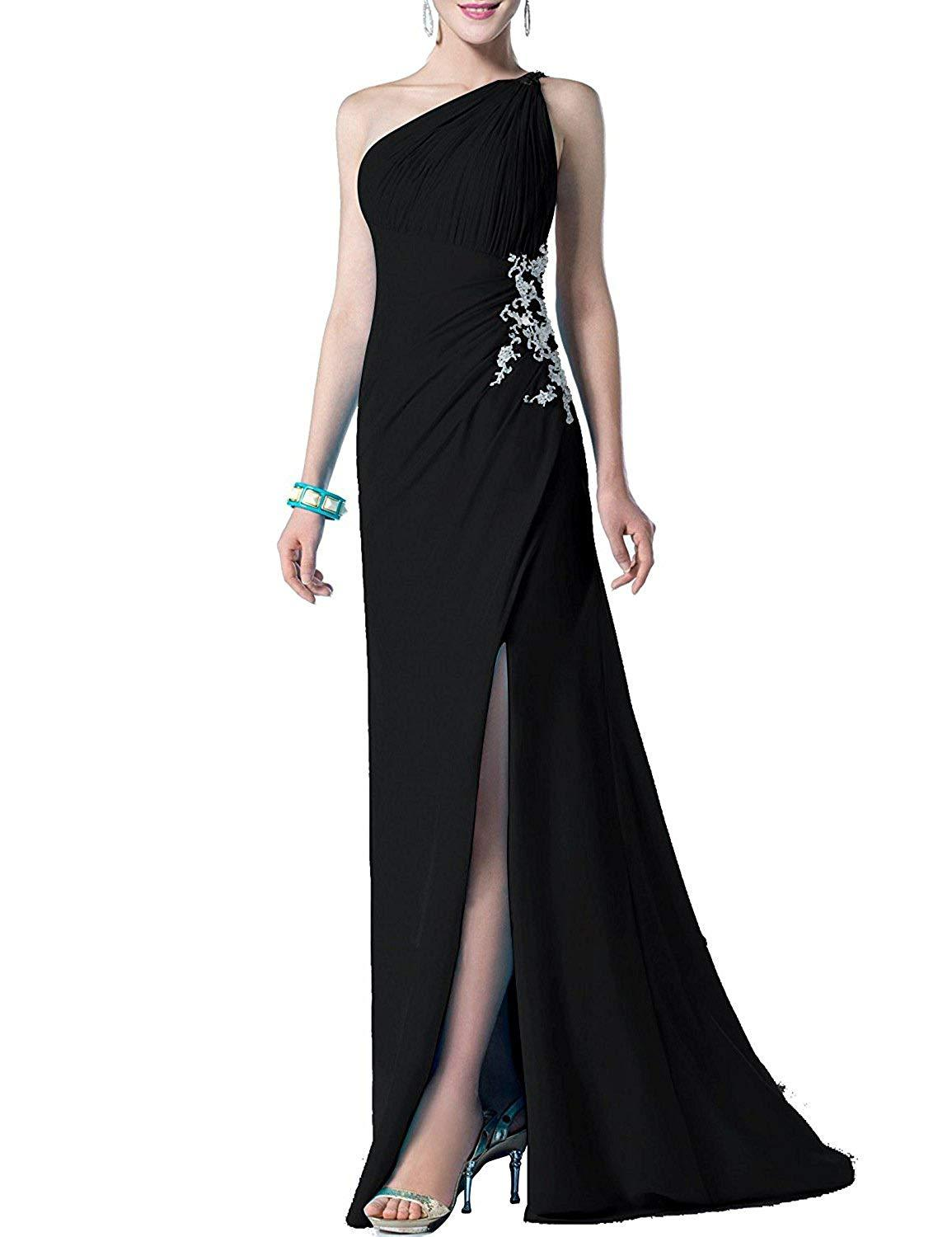 2019 One Shoulder Chiffon Beaded Prom Dress Side Slit Long Evening Formal Gowns