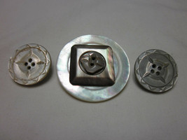 3 Pc Lot Vintage Mother Of Pearl Vintage Buttons Jewelry Snaps For Noosa Ginger - $7.99