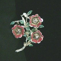 """Vintage Coro Floral Bouquet Flowers Brooch - Pin Red Enamel 2 1/2"""" Coro Signed - $91.92"""